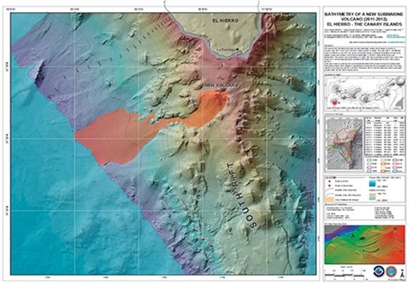 Die Karte des neuen Vulkans in einem Maßstab von 1:25.000. Der Unterwasservulkan nimmt in etwa eine Fläche von 21.090 Hektar ein.