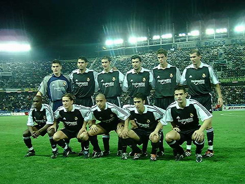 The Real Madrid line-up the last time they visited the Heliodoro stadium during the 2000-02 season