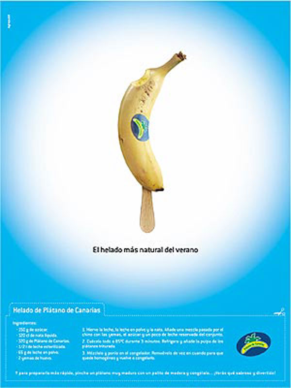 Canarian banana publicity campaign - the most natural summer ice cream