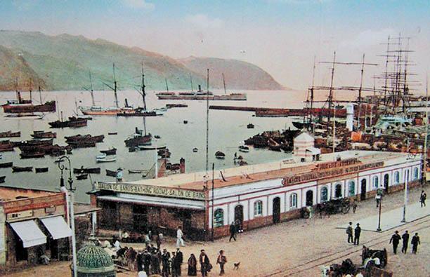 Der Hafen in Santa Cruz vor einem knappen Jahrhundert