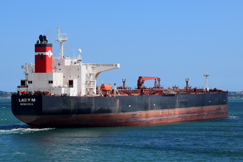 The stricken Liberian tanker Lady M