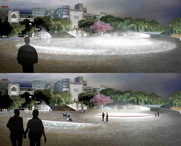 Entwurf für die künftige Lichtgestaltung auf der Plaza de España vor dem Palacio Insular, dem Sitz der Inselregierung