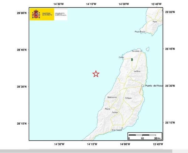 Erdbeben westlich von Fuerteventura.