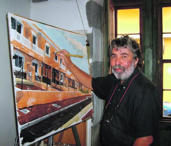 In seinem Atelier steht der Maler nur selten vor der Staffelei. Am liebsten malt er in freier