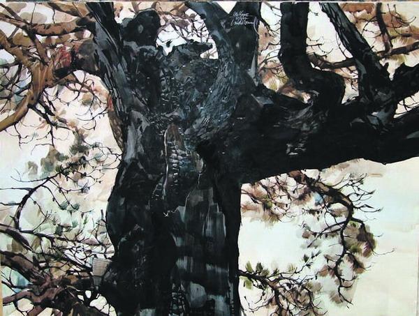 Ein 'Zweiteiler', der auch einzeln wirkt: ein herbstlicher Baum