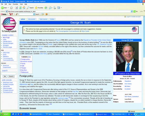 Screenshot - der Eintrag zu US-Präsident Bush in 'Conservapedia'