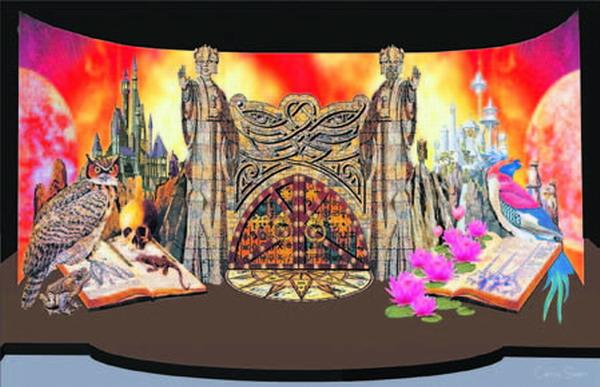 Hauptmotiv der Karnevalsbühne, entworfen von Carlos Sáenz