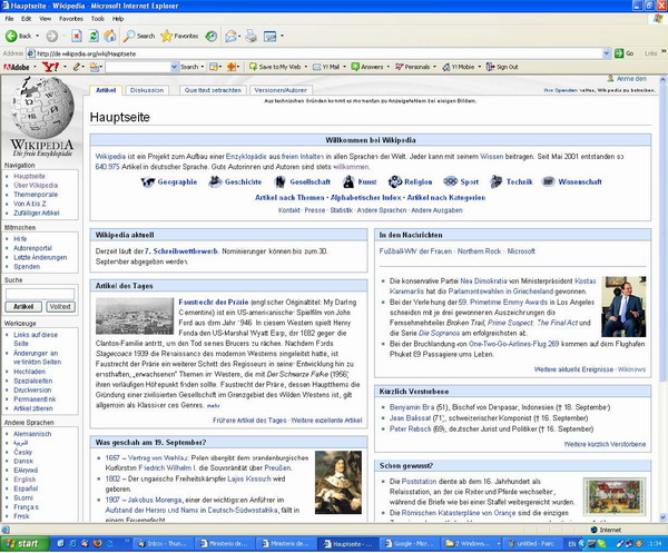 Screenshot des Online-Lexikons Wikipedia