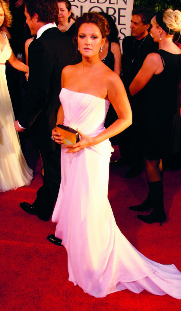 Drew Barrymore wearing a Dior Haute Coutour at the 2007 Golden Globe Awards
