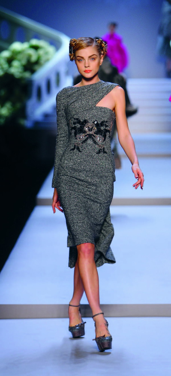 Dior embroidered grey tweed dress