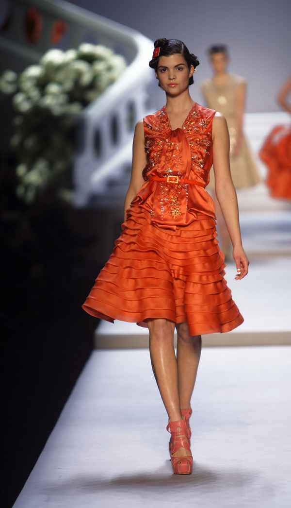 Dior embroidered coral silk blouse with skirt