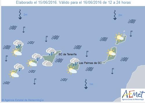 Wetterkarte für Donnerstagnachmittag, 15. Juni 2016.