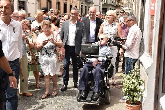 Stephen Hawking bei seinem Besuch in Santa Cruz de La Palma.