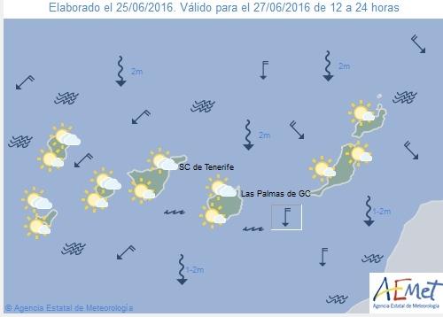 Wetterkarte für Montagnachmittag, 27. Juni 2016.