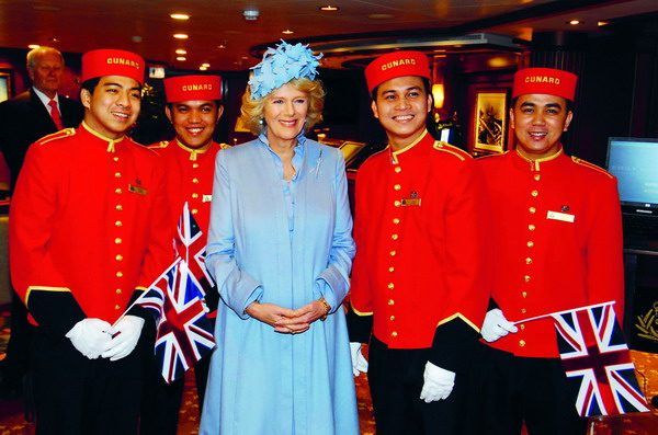 HRH, The Duchess of Cornwall with the Cunard bell-hops