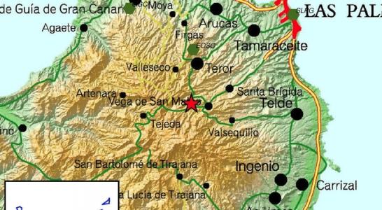 Auf der Karte des Nationalen geografischen Instituts ist das Epizentrum des Bebens eingezeichnet.