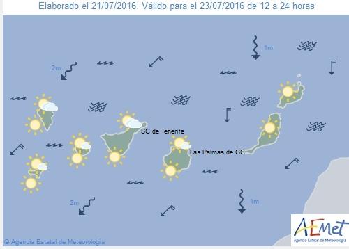 Wetterkarte für Samstagnachmittag, 23. Juli 2016.