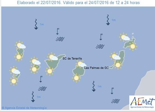 Wetterkarte für Sonntagnachmittag, 24. Juli 2016.