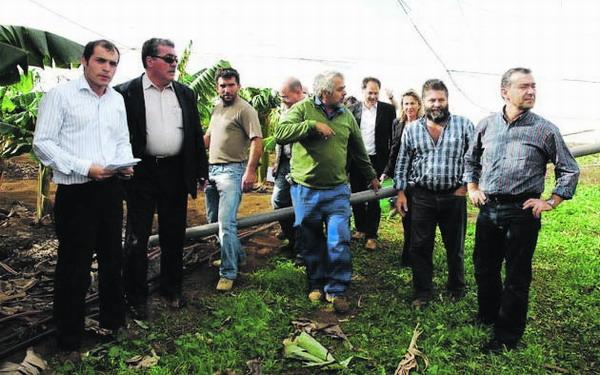 Der kanarische Präsident macht sich ein Bild über die Unwetter-Schäden auf El Hierro