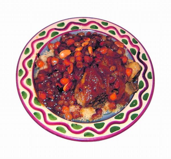 Couscous Tfaya mit Lamm und karamelisierten Zwiebeln