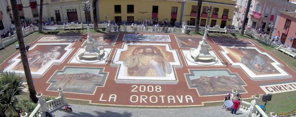 Der große Sandteppich 2008 in La Orotava auf Teneriffa als Gesamtbild