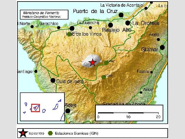 Das Beben am Dreikönigstag wurde direkt am Krater des Teide registriert.