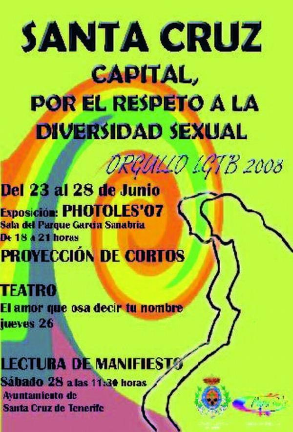 Plakat in den typischen Regenbogenfarben der homosexuellen Szene