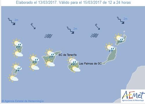 Wettervorschau für Mittwoch, 15. März 2017.