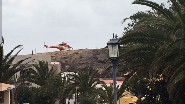 The trekkers were rescued by helicopter from the barranco