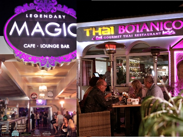Magic Club Lounge und das Restaurant Thai Botanico in Playa de Las Américas.