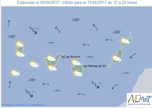Wettervorschau für Dienstag, 11. April 2017.