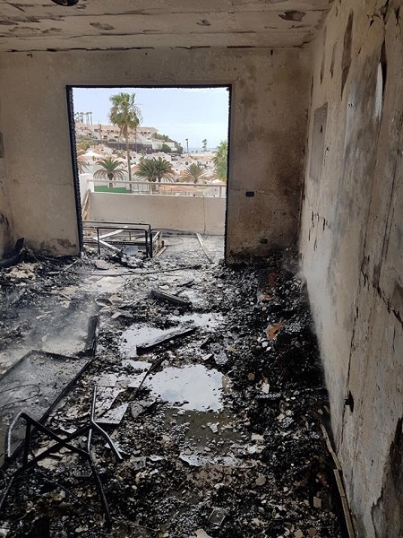 The affected apartment was completely burned