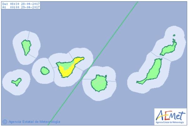 Regenwarnung für Teneriffa am Nachmittag des 28. April.