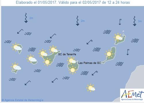 Wettervorschau für Dienstag, 2. Mai 2017.