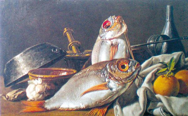 Stilleben mit Fisch, Orangen und Kochutensilien von Lu�s Mel�ndez