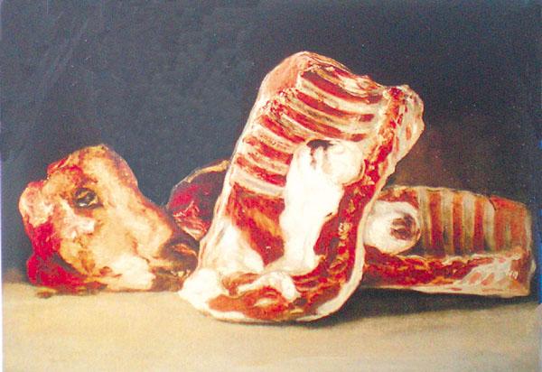 Stilleben mit Lende, Rippen und Schafskopf von Francisco Goya