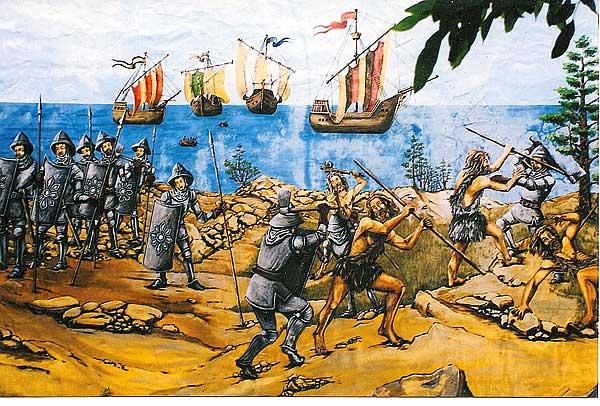 """Darstellung der Eroberung von La Palma (1492): Wandmalerei im ehemaligen """"Pueblo Parque"""" bei Los Llanos de Aridane auf La Palma"""