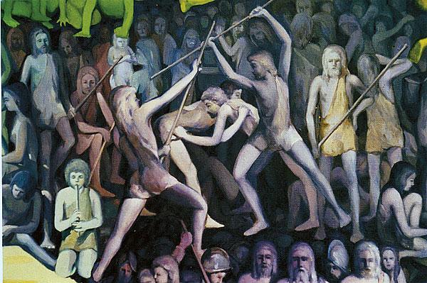"""Stockfechten (Juego del Palo) war schon bei den Altkanariern eine beliebte Wettkampfart (Detail aus dem Gemälde """"Patria Guanche"""" von Luis Morera, 1977)"""