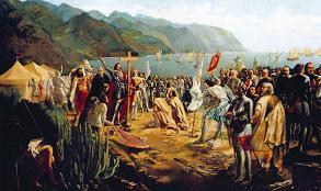 In der Bucht von Añaza (heute Santa Cruz) landete Alonso Fernández de Lugo und begann auch von hier aus seinen Eroberungszug der Insel Teneriffa (Gemälde von Gumersindo Robayna Lazo, 1855. Museo de Bellas Artes, Santa Cruz)