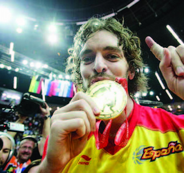 Pau Gasol, part of Spain's winning team, and MVP