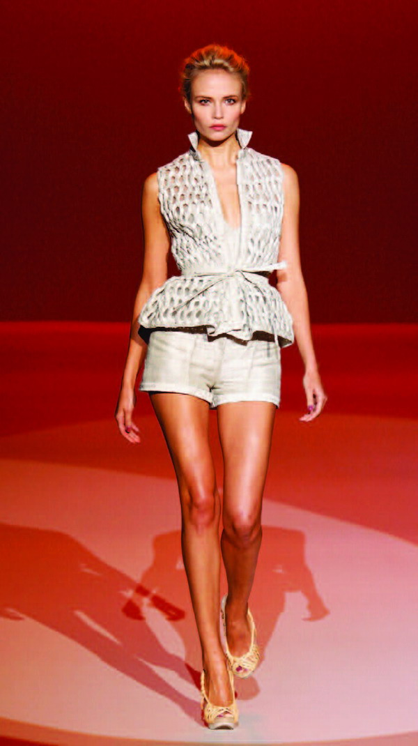 Stone rope weave jacquard linen shorts, bustier, and woven vest