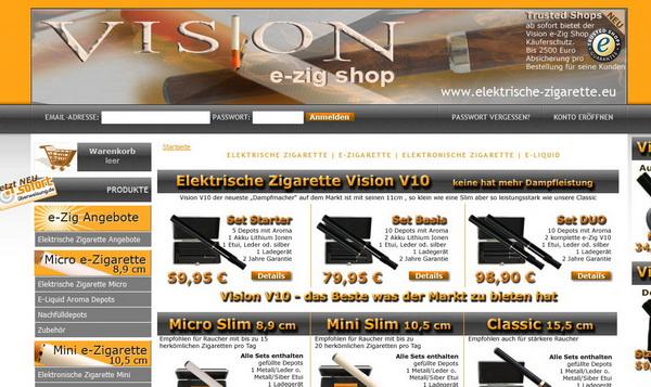 Die Elektrische Zigarette im Internetshop von Vision sicher kaufen