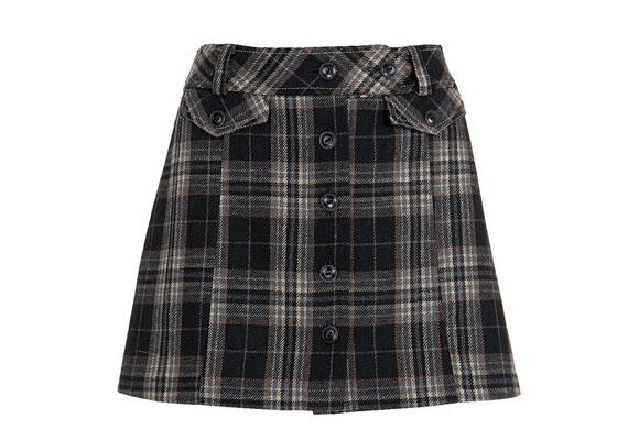 Wieder zurück in der Mode-Szene! Der Karo-Mini in Tweed-Optik. Ganz stilecht durchgeknöpft und mit aufgesetzten Taschen. Von George