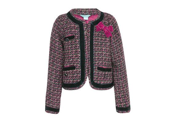 Im Stil der Mode von Coco Chanel präsentiert sich das Jäckchen mit Samtblenden und Zierknöpfen. Styling-Tipp: zum schmalen Rock ebenso modisch wie zur verwaschenen Jeans. Von Monsoon/Accessorize