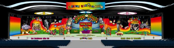 Eine Fotomontage gibt einen Vorgeschmack auf das Bühnenbild des Karnevals 2012 in Santa Cruz.