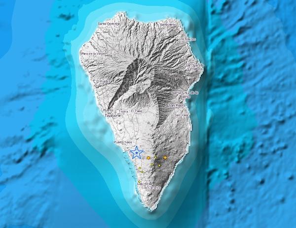 Die Beben konzentrieren sich in der Gipfelregion der Insel.