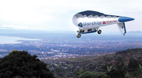 Ein Solar-Hybrid-Luftschiff der kanadischen Firma Solar Ship Inc. als Vorbild.