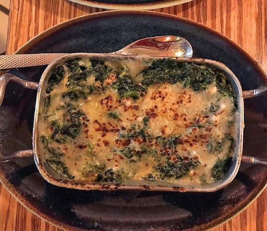 Spinach au gratin, a new taste experience