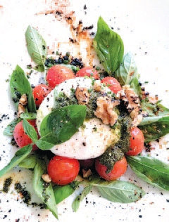 The buffalo milk Burrata with basil pesto, cherry tomatoes and lightly roasted walnuts - simply delicious