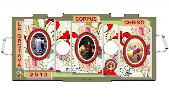 Der Entwurf des diesjährigen Sandteppichs auf dem Rathausplatz von La Orotava.
